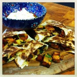 Chorizo, Sweet Potato & Thyme Quesadillas